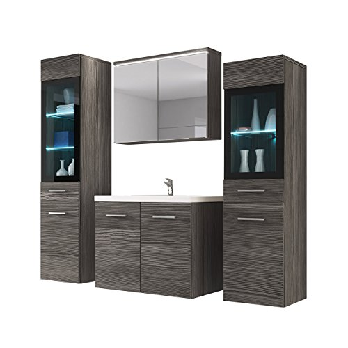 Badmöbel Set Udine II mit Waschbecken und Siphon, Modernes Badezimmer,  Komplett, Spiegelschrank, Waschtisch, Hochschrank, Möbel (Ohne Beleuchtung,  ...